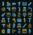 welder icon set neon vector image vector image