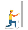 workman with drill working man on construction vector image
