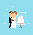 Bride and groom with wedding cake vector image