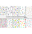 collection of abstract memphis colorful patterns - vector image