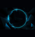 a blue circle with 3d triangles technology vector image vector image