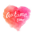 autumn time greeting card with hand lettering text vector image vector image