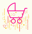 Baby carriage on abstract colorful geometric light vector image