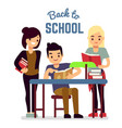 back to school concept with reading students vector image vector image
