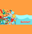 background with summer and beach objects vector image vector image