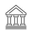 Bank building line icon vector image vector image