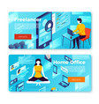 banner templates freelance man and girl vector image vector image