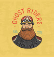 bearded biker templates motorcycles club vintage vector image vector image