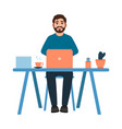bearded guy sitting at workplace happy man vector image vector image