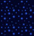beautiful falling glowing snowflakes on dark blue vector image