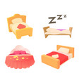 bed icon set cartoon style vector image vector image