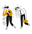 businessman and workmate are walk crying vector image