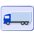 button with truck silhouette vector image
