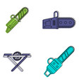 chainsaw icon set color outline style vector image