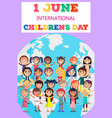 childrens day poster with kids on earth symbol vector image vector image