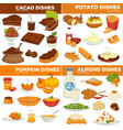 cocoa and poyayo pumpkin and almond dishes food vector image