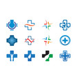 collection of health cross logo template vector image vector image