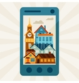 Concept with mobile phone and city panorama vector image