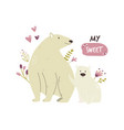 cute white bear family baby cartoon design vector image