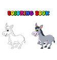 donkey cartoon character coloring book design vector image