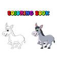 donkey cartoon character coloring book design vector image
