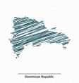 Doodle sketch of Dominican Republic map vector image