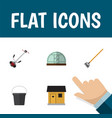 flat icon garden set of hothouse tool pail and vector image vector image
