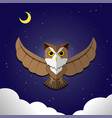 flying owl on night backgroundfront view vector image