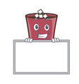 grinning with board hot chocolate character vector image vector image