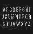 handwritten alphabet uppercase letters on black vector image vector image