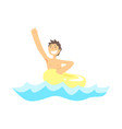 happy kid having fun with yellow rubber swim ring vector image vector image