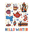 hello winter greeting card design funny doodles vector image