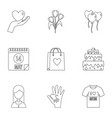 icon set outline style vector image