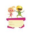 Kids Dressed As Superheroes Dancing On Lid Of Gift vector image vector image