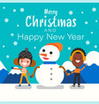 merry christmas and happy new year christmas cute vector image vector image