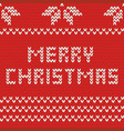 merry christmas red knitting card with wishes vector image