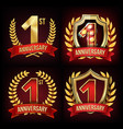 one year anniversary banner set 1 age sign vector image vector image