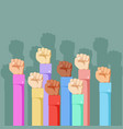 raised hands gesture political protest anger flat vector image