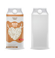 rice milk realistic product box label vector image vector image