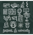 School education chalkboard icons vector image