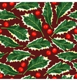 Seamless holly leaves vector image vector image