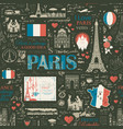 seamless pattern on theme france and paris vector image vector image