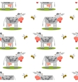 Seamless pattern with cows and bees vector image vector image