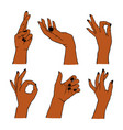 set different gestures isolated collection vector image