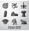 set italy freehand icons - pizza olives wine vector image