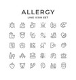 set line icons of allergy vector image vector image