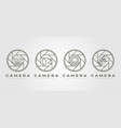 Set nature camera lens photography logo symbol