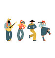 set people dancing country dance and musician vector image