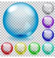 set transparent glass spheres vector image