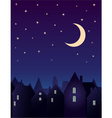 silhouette city and night sky vector image